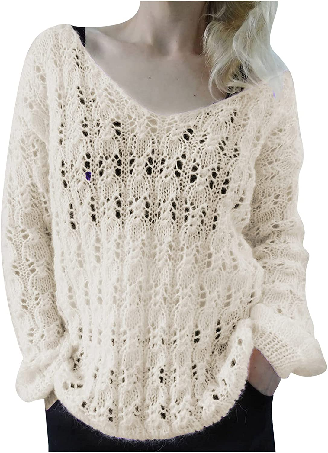 JPLZi Womens Cute Soft Crewneck Long Sleeve Hollow Cable Knit Pullover Sweaters Loose Lightweight Comfy Beach Tunic Tops