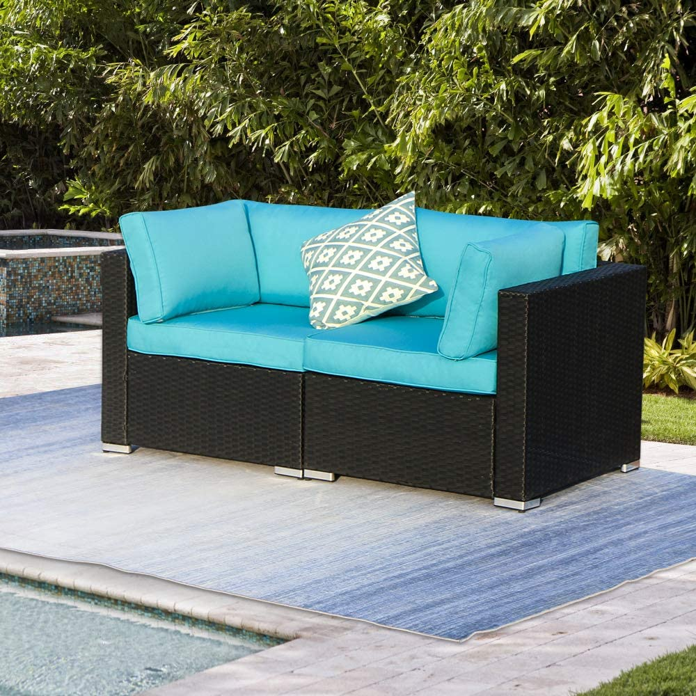 Green4ever Patio Loveseat 2 Piece Outdoor shopping All Weather Sectional Max 90% OFF