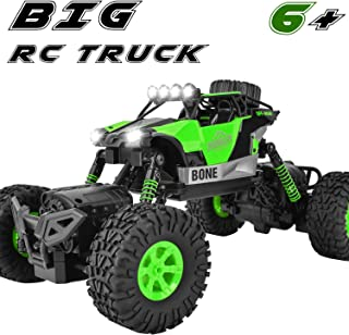 Rainbrace Waterproof RC Truck Remote Control Car 4WD Off Road Monster Truck Crawler with Dual Motors 4 Steering Mode Big Remote Control Truck Toy for Boys Age 6 12 Years Old - Green