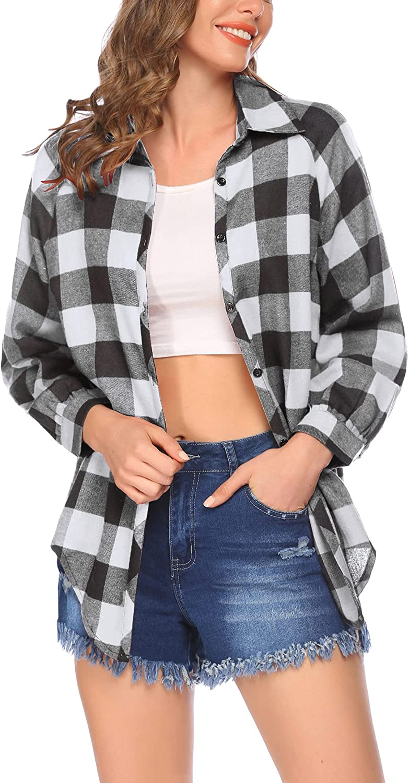 SUPRIQLO Plaid Shirt for Women Long Sleeve Buffalo Check Flannel Plaid Blouses Button Down Boyfriend Collared CasualTop