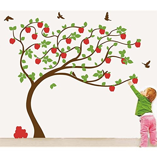 Asmi Collections Pvc Wall Stickers Beautiful Big Apple Tree (7 Feet * 6 Feet)