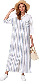 MAI&FUN Fashion Dress for Women Plus Size Loose Casual Short Sleeve Maxi Dress Stripe Shirt Dress