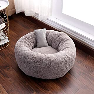 lovecabin Orthopedic Round Cuddle Nest Soft Self-Warming Round Dog Bed for Small and Medium Dogs Cats Calming Dog Bed Burrowing Faux Fur Donut Cuddler Bolster Pet Bed Sofa