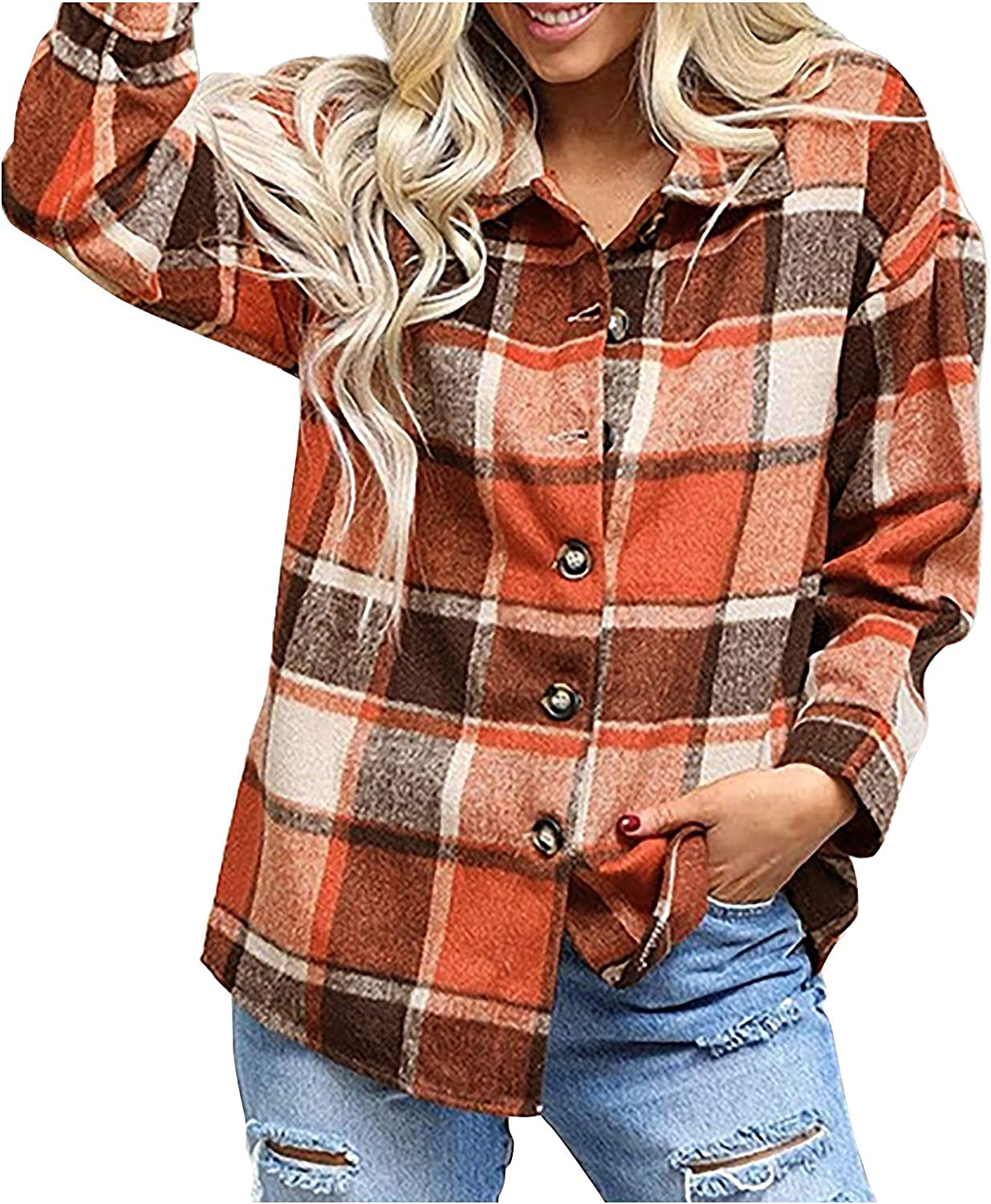 Womens Plaid Lapel Button Down Shirt Coat Plus Size Baggy Turn Down Collar Long Sleeve Blouse Overcoat Outwear