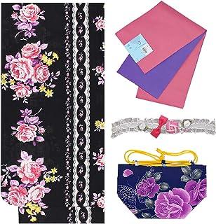 浴衣 ガールズ 4点セット 130cm 140cm 150cm 黒色 薔薇 リボン N3726