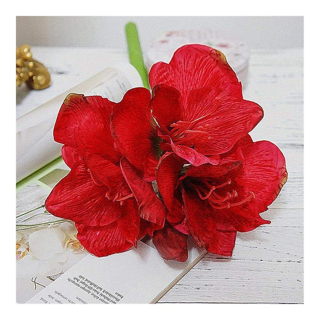 病気の敵エロチック手作り 人工アマリリス花支店フルールArtificiellesのホーム表ウェディングデコレーションフェイクシルクの花アマリリスフローレス パーティー (Color : Dark red)