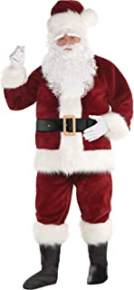 Amscan Dark Red Santa Suit for Adults, Christmas Costume, 2 XL, with Included Accessories