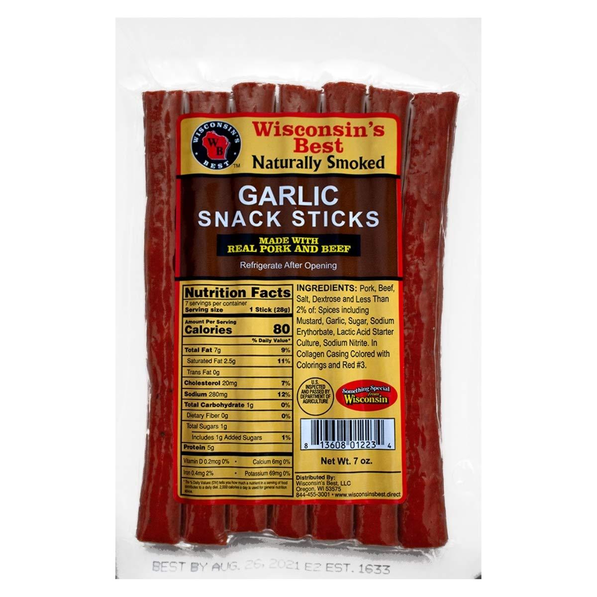 Wisconsin's Best Garlic Protein Snack 7 2021 model Purchase 1 Sticks Meat oz