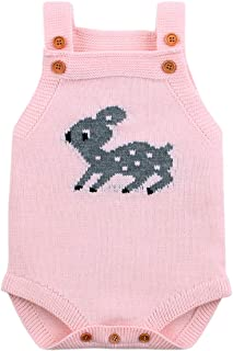 Baby Boy Rompers Toddler Sleeveless Knit Baby Girl Jumpsuits Cartoon Cute Deer Overalls