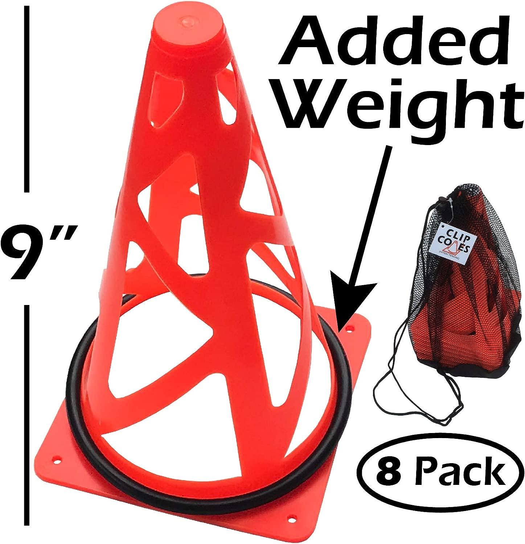 クリップコーン 9インチ 芝とビーチコーン – 8つのウェイトトレーニングコーンとキャリーバッグセット パイロン、エンドゾーンマーカー、サッカーゴールとして使用 安全のために折りたたみ可能。