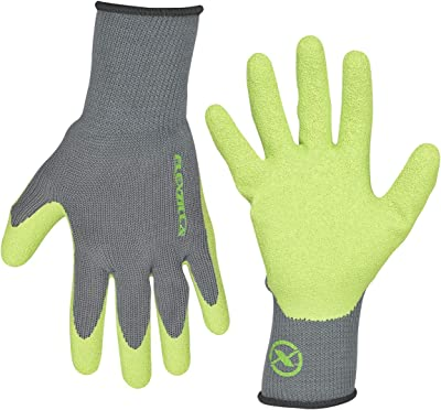 Flexzilla GC240L Crinkle Latex Dip, Gray/ZillaGreen, L Garden Gloves, Large