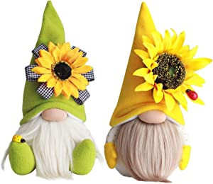 2 PCS Bumble Bee Spring Gnome Plush with Sunflower - Tomte Elf World Bee Day Decorations Gifts - Summer Honeybee Gnomes Plushie Ornaments -Swedish Dwarf Figurine Table Honey Bee Gnomes Decor