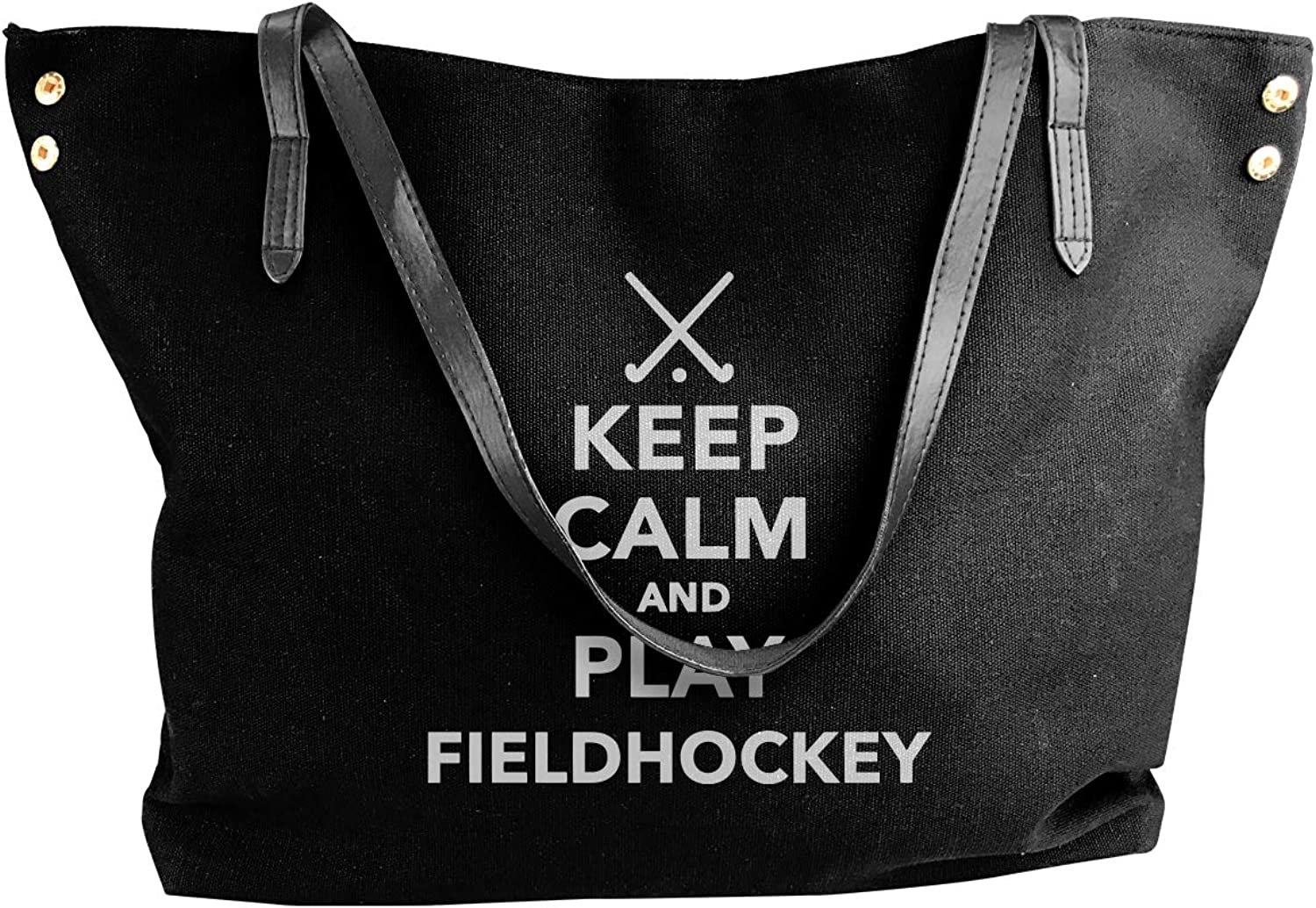 Keep Calm And Play Field Hockey Women'S Casual Canvas Shoulder Bag For Travel Big Shopping Bag