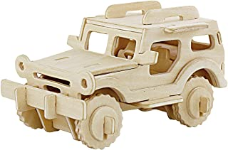 PONTE COLLECTION 3D Wooden Model Toy Kit World Puzzle Build Car Kit Wooden 3D Puzzles Build Car Kit Kids Wooden Puzzle Car Model Kits 38-pcs (Jeep)