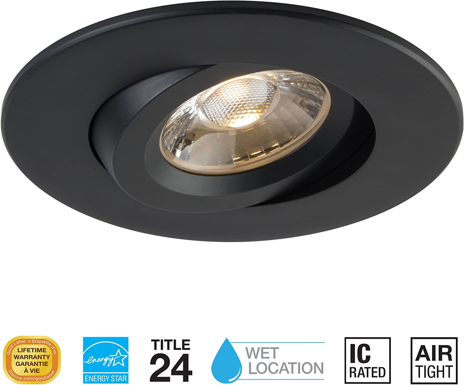 Liteline 4  Luna LED Round Gimbal Fixture, 12W, 2700K, 90CRI, dimmable. Suitable for Insulated Ceilings. (Black, 4000K)