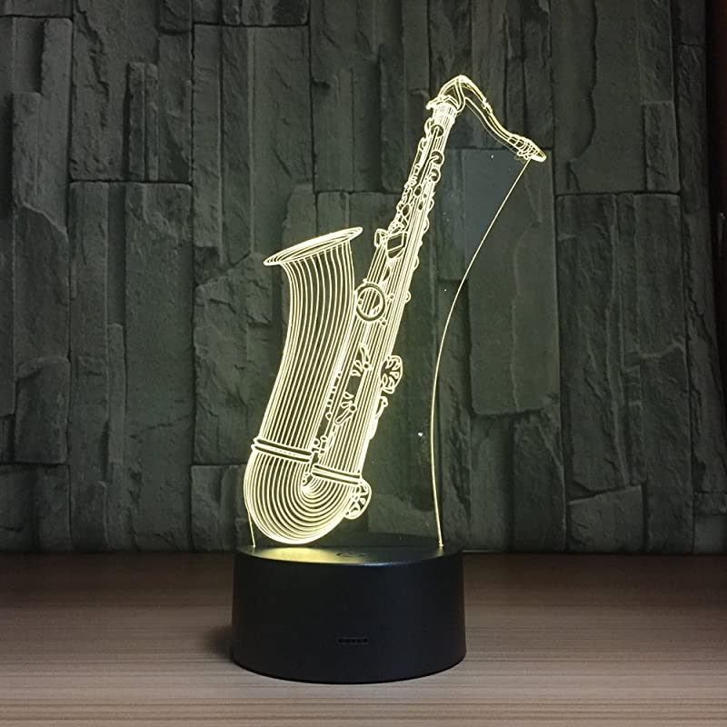 3D Optical Illusion Saxophone Nigth Light LED Table Desk Lamp 7 Color Changeable LED Night Light Home Party Decoration For Birthday Gift Christmas Xmas Festival Gift For Music Lovers Fans