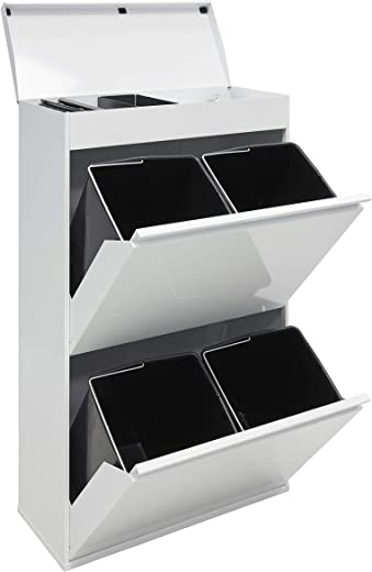 ARREGUI Top CR621-B Recycling Abfalleimer/Mülleimer aus Stahl mit Aufbewahrungsbox mit Deckel, Mülltrennsystem mit 4 entnehmbaren Inneneimern aus…