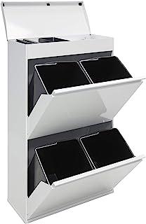 comprar comparacion Arregui Top CR621-B Cubo de Basura y Reciclaje de Acero de 4 Cubos y Bandeja Superior Multiusos, Blanco, 97,5 x 58,6 x 24,...