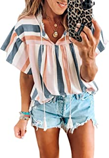 Dokotoo Womens Summer Casual Short Sleeve Floral Knot Blouse Tops T Shirts (S-XXL)