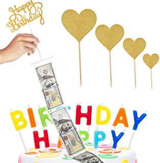 Cake Money Box Set Glitter Heart Cake Toppers Happy Birthday Cake Topper for Birthday Party Decoration with 1 Plastic Roll...