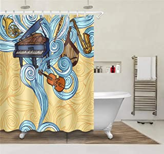 CdHBH Personality Creative Hand-Painted Instrument Piano Guitar Clarinet Saxophone Pattern Bathroom Shower Curtain Waterproof Fabric Suitable for Bathroom Shower Room Including 12 Plastic Hooks