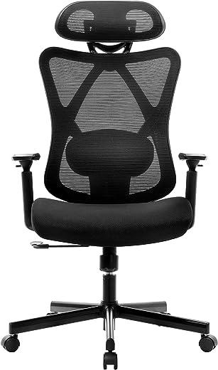 BASETBL Bürostuhl Schreibtischstuhl Ergonomischer Drehstuhl Verstellbarer Lendenstütze/Kopfstütze/Armlehne Computerstuhl Neigbarer, Netz-Hochlehne…