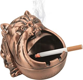 LAUYOO Barking Dog Metal Ashtray with Lid Vintage Cigarettes Ashtray for Outdoors Indoors Smoking Ash Tray for Home Office...