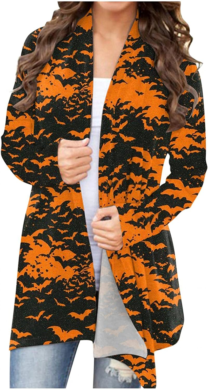 felwors Halloween Cardigan for Women,Women's Pumpkin Long Sleeve Graphic Tops Open Front Lightweight Knitted Cardigans