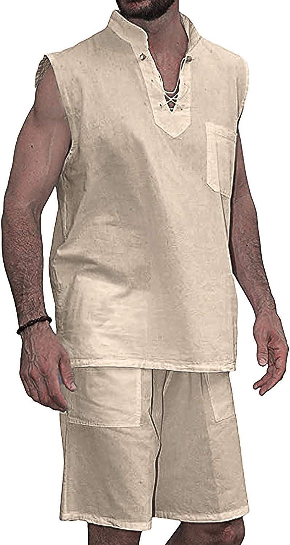 ZCAITIANYA Men's Suit 2 Piece Fashion T Shirt Shirt Short Sleeve Shorts Cotton V Neck Suit Summer Sportswear Casual Suit