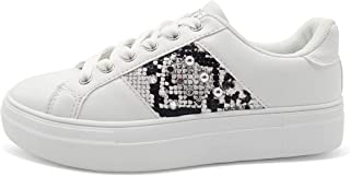 Fashion Women's Platform Leather Sneakers - Snake Skin Low Top Casual Walking Shoes with Round Toe