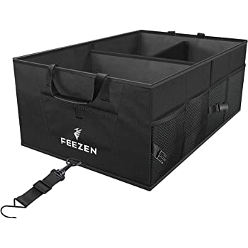Feezen Car Trunk Organizer Best for SUV, Vehicle, Truck, Auto, Minivan, Home - Collapsible Storage, Heavy Duty Durable Construction Non-Skid Bottom (Black Wider)