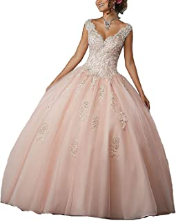 High Neck Lace Prom Pageant Ball Gown Quinceanera Dresses