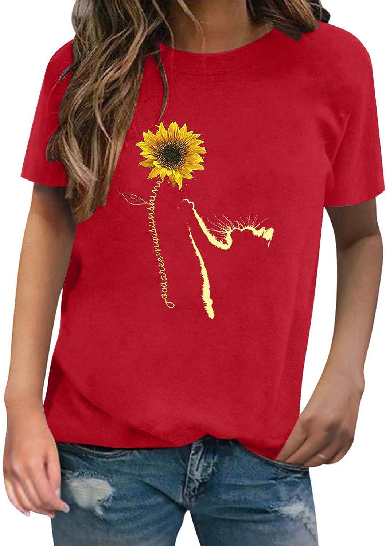 haoricu Womens Summer Cat Outstanding Sunflower Crewneck Sleeve Print Short Super special price