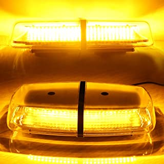 72 LED Amber Yellow Strobe Lights for Trucks Vehicles 12/24V High Intensity Law Enforcement Hazard Emergency Warning Lights with Magnetic Base (1 PCS)
