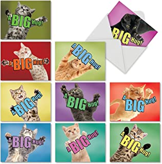 10 'Cat a Big Hug' Note Cards with Envelopes 4 x 5.12 inch, Blank Greeting Cards with Cats Waiting for a Hug, All Occasion Stationery for Birthdays, Weddings, Baby Showers, Thank You M6614OCB