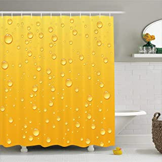 SPENCER HENRY Shower Curtain Yellow Background Like Beer in a Glass with Water Drops Graphic Prints Fabric Bathroom Decor 137x198cm