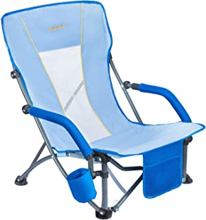 #WEJOY Low/High Folding Camping Beach Sling Chair with Cup Holder Armrest Pocket Mesh Back for Outdoor Sports Lawn, Carry Bag Included