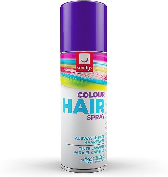 Smiffys-052P Spray de Color para Pelo, 125ml, púrpura, One Size (052P)