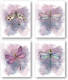 Dragonflies Art Beautiful Home Decor Prints - Set of 4 8 x 10 Unframed Prints - Beautiful Gift For Nature Lovers - Great Housewarming Gift for the Bathroom, Office, Bedroom, Girl's Room