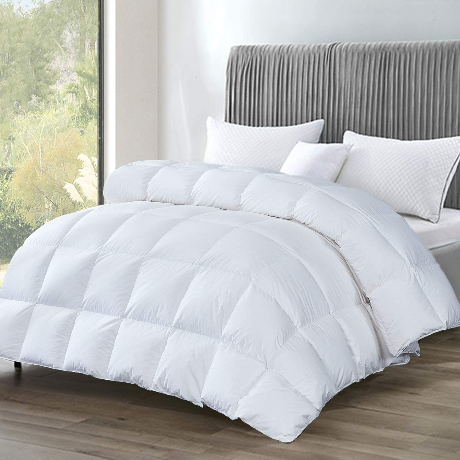 Re Bedding Luxurious Goose Down Comforter All Season Duvet Insert 100 Cotton Cover 750 Fill Power 1000 Thread Count Hypoallergenic Down Proof With 8 Tabs Twin White Medium Weight Amazon Co Uk Kitchen Home