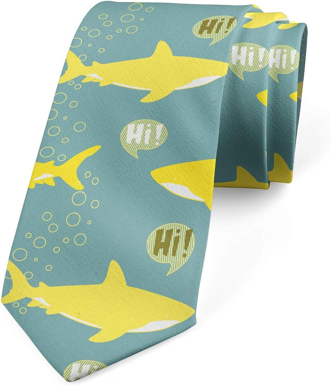 Ambesonne Necktie, Friendly Yellow Fishes, Dress Tie, 3.7