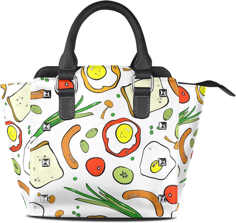 My Little Nest Women's Top Handle Satchel Handbag Breakfast Bread Egg Sausage Ladies PU Leather Shoulder Bag Crossbody Bag