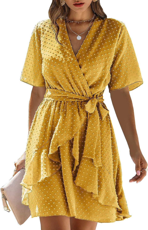 BTFBM Women Fashion Faux Wrap Swiss Dot V-Neck Short Sleeve High Waist A-Line Ruffle Hem Plain Belt Short Dress