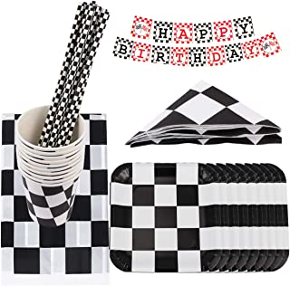 NUOBESTY 1 Set Car Party Tableware Set Disposable Race Car Funny Straw Paper Plates Tableware Party Supplies for Birthday Baby Shower Festival(Black, White, Red)