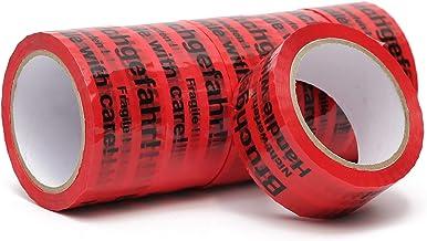 Plakband, verpakkingstape met indicatie op tape (gevaar voor breuken, let op gooien, wees voorzichtig breekbaar glas, hand...