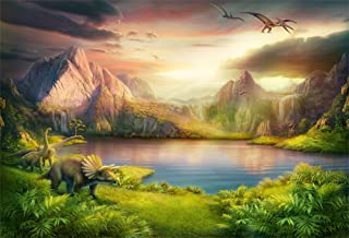 LFEEY 7x5ft Fantasy Jurassic World Backdrop Wonderland Ancient Natural Landscape Lake Mountains Dinosaur Photography Background Kids Birthday Party Photo Booth Props
