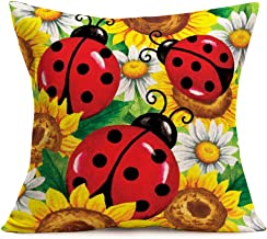 ShareJ Ladybug Sunflowers Pattern Throw Pillow Covers Kids Home Decorative Square Pillow Cases for Sofa Bedroom Livingroom Cotton Linen Cushion Cover 18 x 18