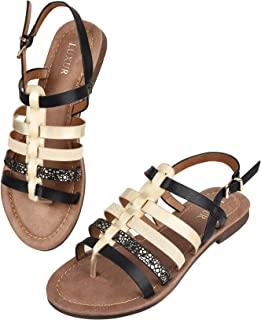 LUXUR Women Flat Sandals Strappy Gladiator Woman Shoes Casual Wear Slide Sandals