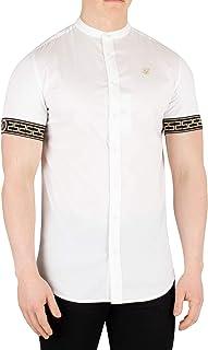 a1d83d5c SikSilk Men's Cartel Grandad Shortsleeved Shirt, White