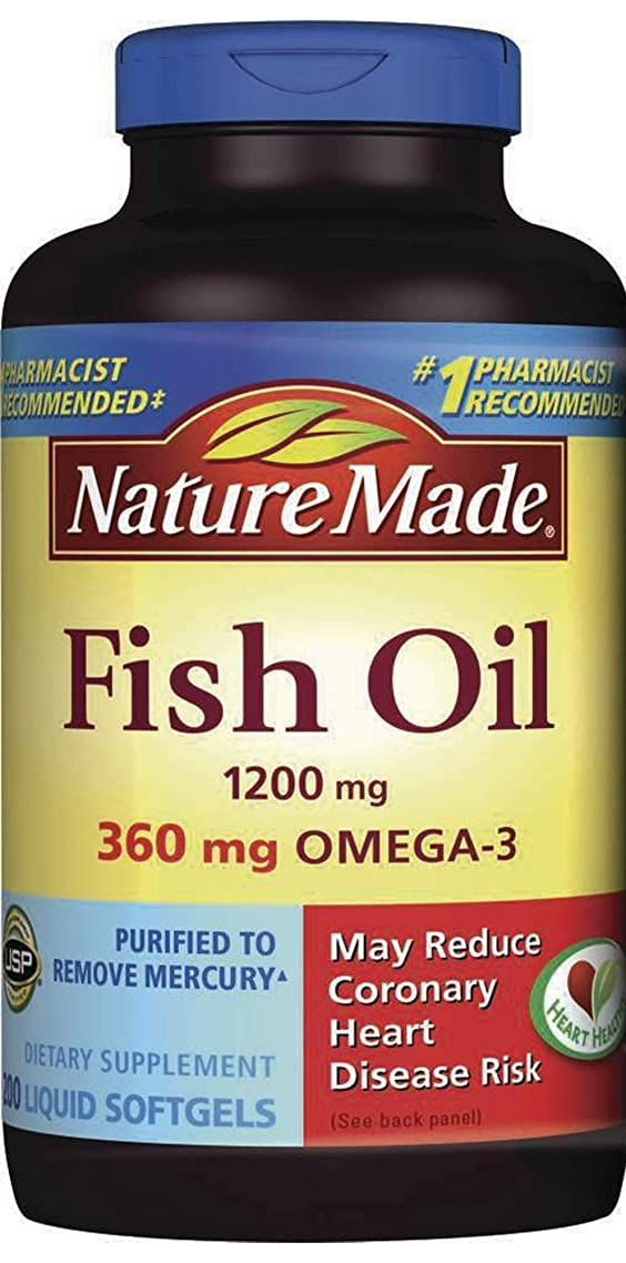 Nature Made Fish Oil 1200 mg w. Omega-3 360 mg Softgels Value Size 1 Pack of 200 Ct